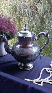 Viktorianische Kaffeekanne Zinn versilbert Gerhardi