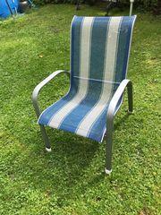 6 Gartenstühle - Blau Weiss gratis