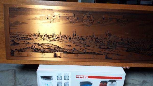 Kupferbild Stich auf Nußbaumholzplatte Nürnberg