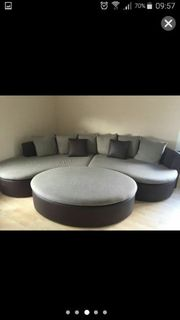 Sofa Eckcouch halbrund mit Hocker