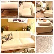 Echtledersofa und Sessel in weiß