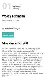 2 Tickets für Woody Feldmann
