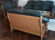 couch holz leder grün 3er