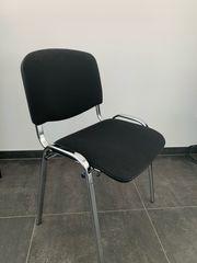 Esszimmer-Stuhl Bezug Schwarz Chromgestell stapelbar