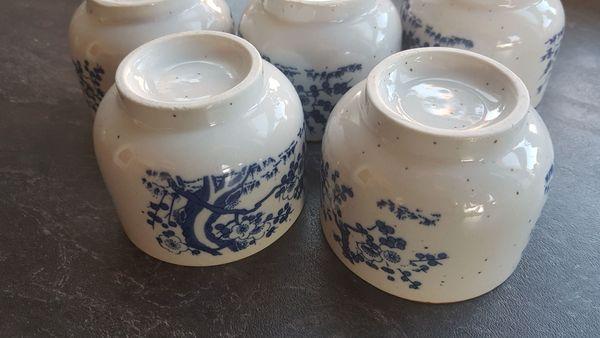 5 Teebecher blau weiß - asiatisches