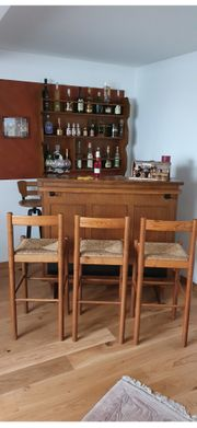 Hausbar 4 Barstühle Wandregal