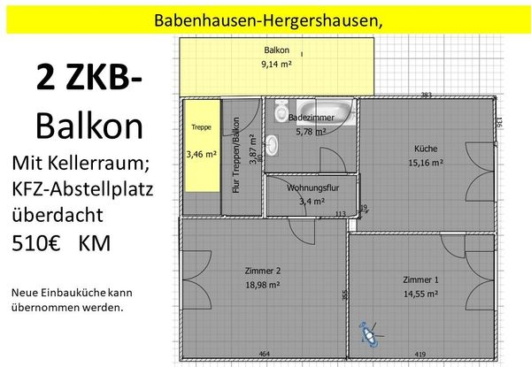 2 ZKB Balkon PKW- Abstellplatz