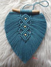 Makramee Boho Blatt Peacock Blue