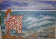 Gemälde Bild Frau Meer Strand