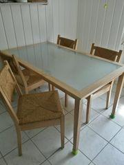 Esstisch Holz Glas mit 5