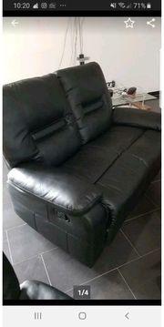 sofa sitzgarnitur sessel schwarz leder