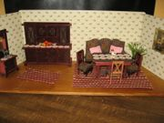 Historische Wohnzimmer-Puppenmöbel für Puppenstube-Puppenhaus