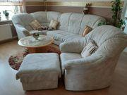 Schlafcouch mit Sessel und Beistellhocker