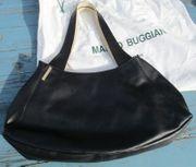 Damen Handtasche Leder schwarz creme