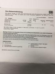 Zugfahrkarten 1 Klasse Stuttgart - Verona