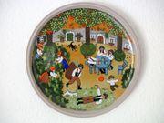 Wandteller 4x aus Keramik Motive