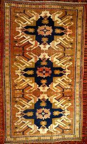 Orientteppich Adler-Kazak antik Sammlerteppich T077