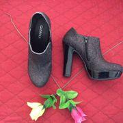 Damen - Plateau - Glitzer Boots Schwarz