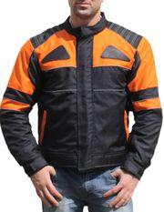 Motorradjacke Textil Orange schwarz