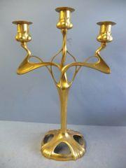 Großer Kerzenleuchter Zinn vergoldet ORIVIT