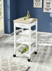 Küchenwagen Holz weiß Arbeitshilfe Küchentrolly