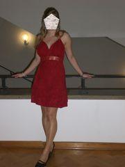 rotes Neckholder Kleid Gr 38