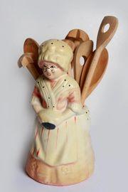 Kochlöffelhalter Keramikfigur Köchin Oma Deko