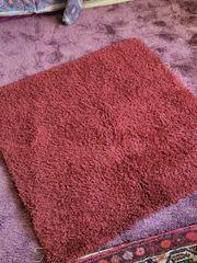 2 Quadratische Teppiche Flokati rot