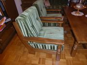 Wohnzimmer Eiche massiv Tisch 2Sessel