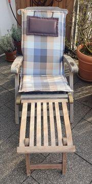 Deckchair Liegestuhl - Teakholz mit Fussteil