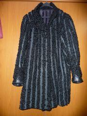 Einzelanfertigung schwarzer Damen Persianer Wollmantel