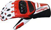 Motorradhandschuhe Rindsleder Rot Weiß Schwarz