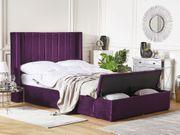 Polsterbett Samtstoff violett mit Stauraum