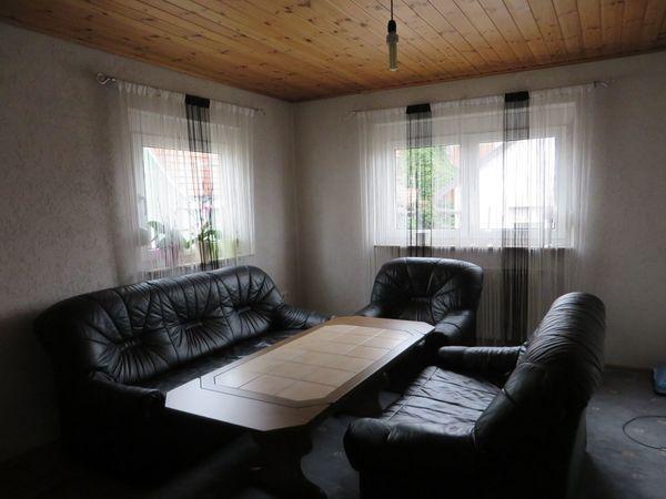 Couchgarnitur Kunstleder schwarz - gebraucht