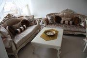 Barockstil Massiv Sitzgruppe Couch Sessel
