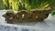 Asiatika Drache Holzfigur Glücksdrache Tempel
