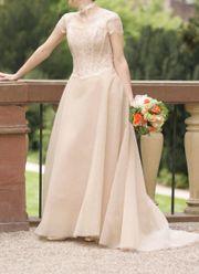 Brautkleid puderfarben Tüll Größe 36