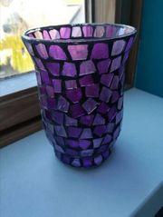 Windlicht mit Lila Mosaik