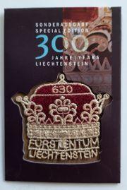 Fürstenhut Liechtenstein gestickte Briefmarke