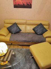 Couchgarnitur 3-Sitzer Hocker von Lederland