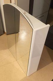 Badspiegelschrank mit Steckdose weiß Hochglanz