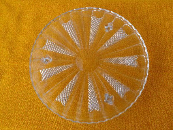 Torten- / Kuchenplatte bleifreies Pressglas 31 cm Mit Mustern