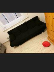 Velours Sofa Schwarz ausklapbar