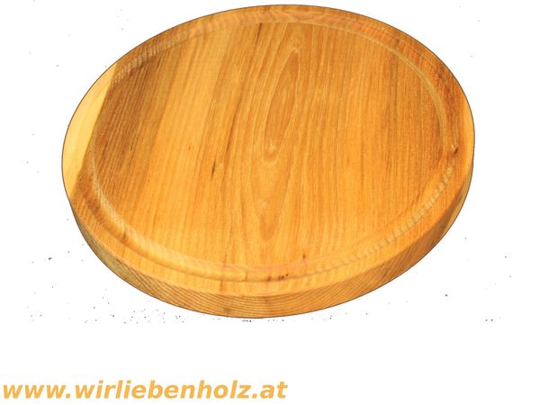 Holzteller rund Rüster Ulmenholz 26