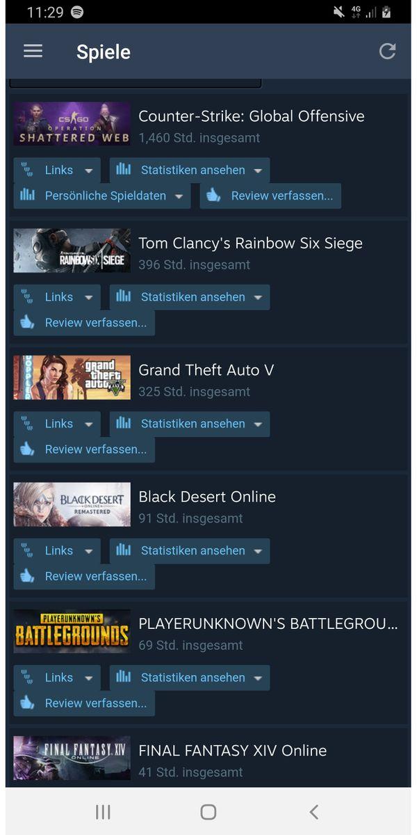 Steam Account Top Spiele