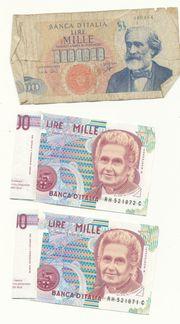 Italienische Lira Scheine und Münzen