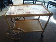 Antiker Servierwagen Teewagen Beistelltisch Fliesen