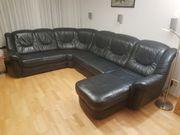 Schwarze Echtleder Eck-Couch mit Schlaffunktion