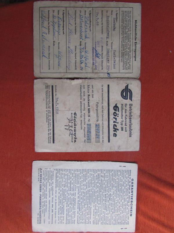 Göricke Typ 300 Betriebserlaubnis