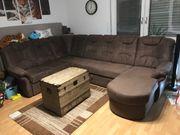 Sofa Wohnlandschaft braun hoch Schlaffunktion